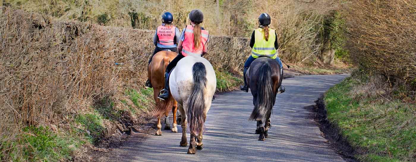 The British Horse Society (BHS) have a Riding & Road Safety Test that you should pass it before riding on the road